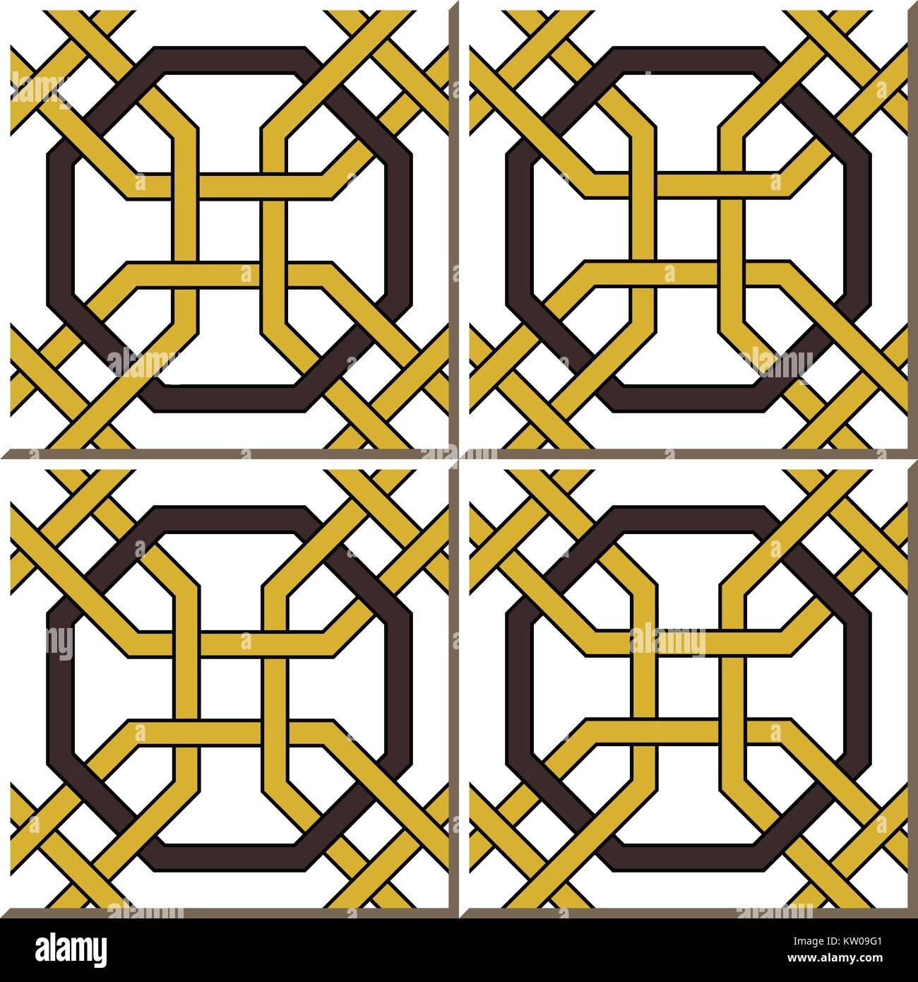 Ceramic tile pattern of octagon frame cross chain Stock Vector Art ...