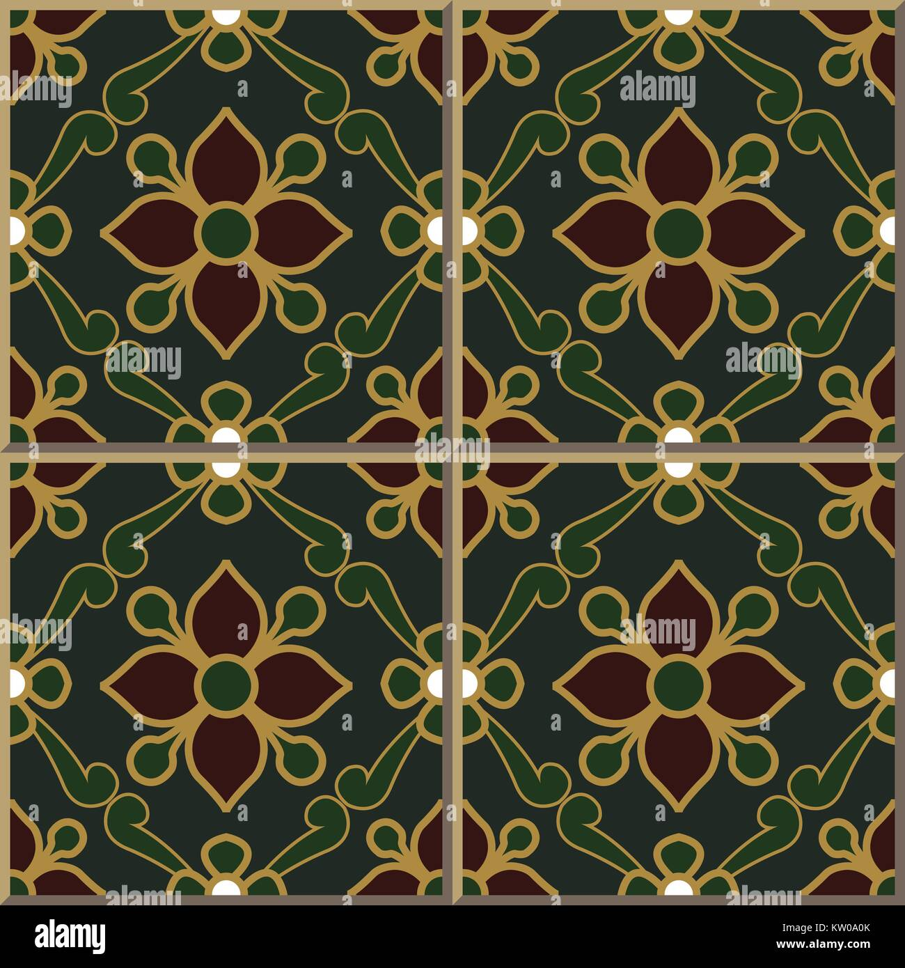 Ceramic Tile Pattern Of Retro Green Gold Outline Red Flower Leaf Stock Vector Image Art Alamy