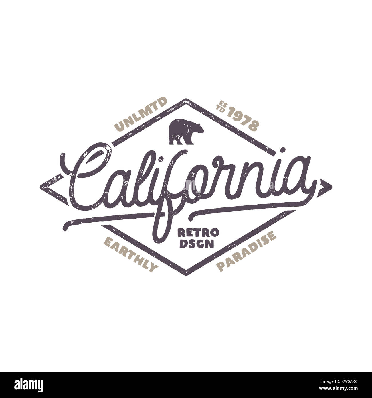 Summer California label with bear and typography elements. Retro surf style for t-shirts, emblems, mugs, apparel - Stock Image
