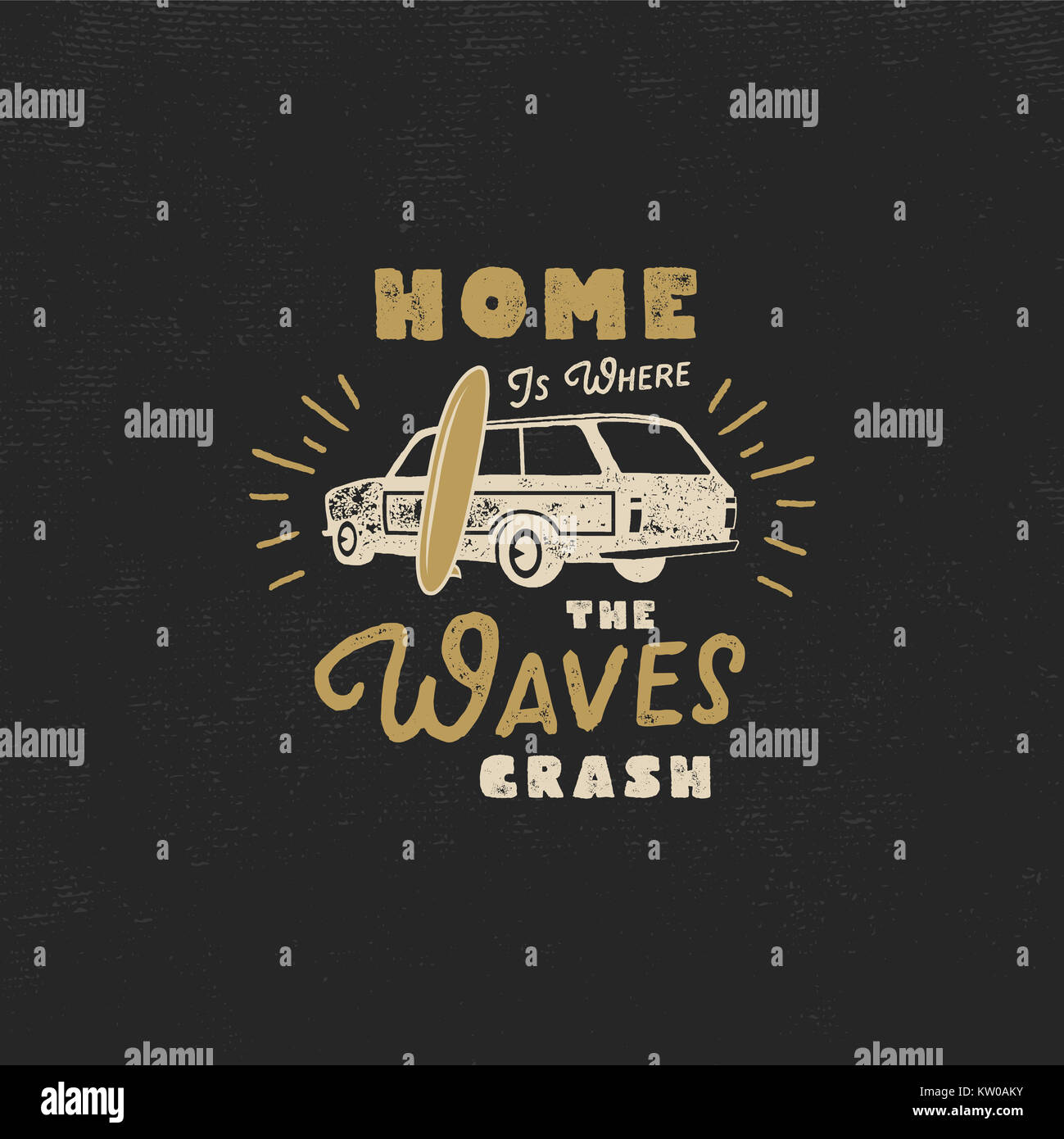 Summer label with retro surf car, surfboard and typography elements. Vintage beach style for t-shirts, emblems, - Stock Image