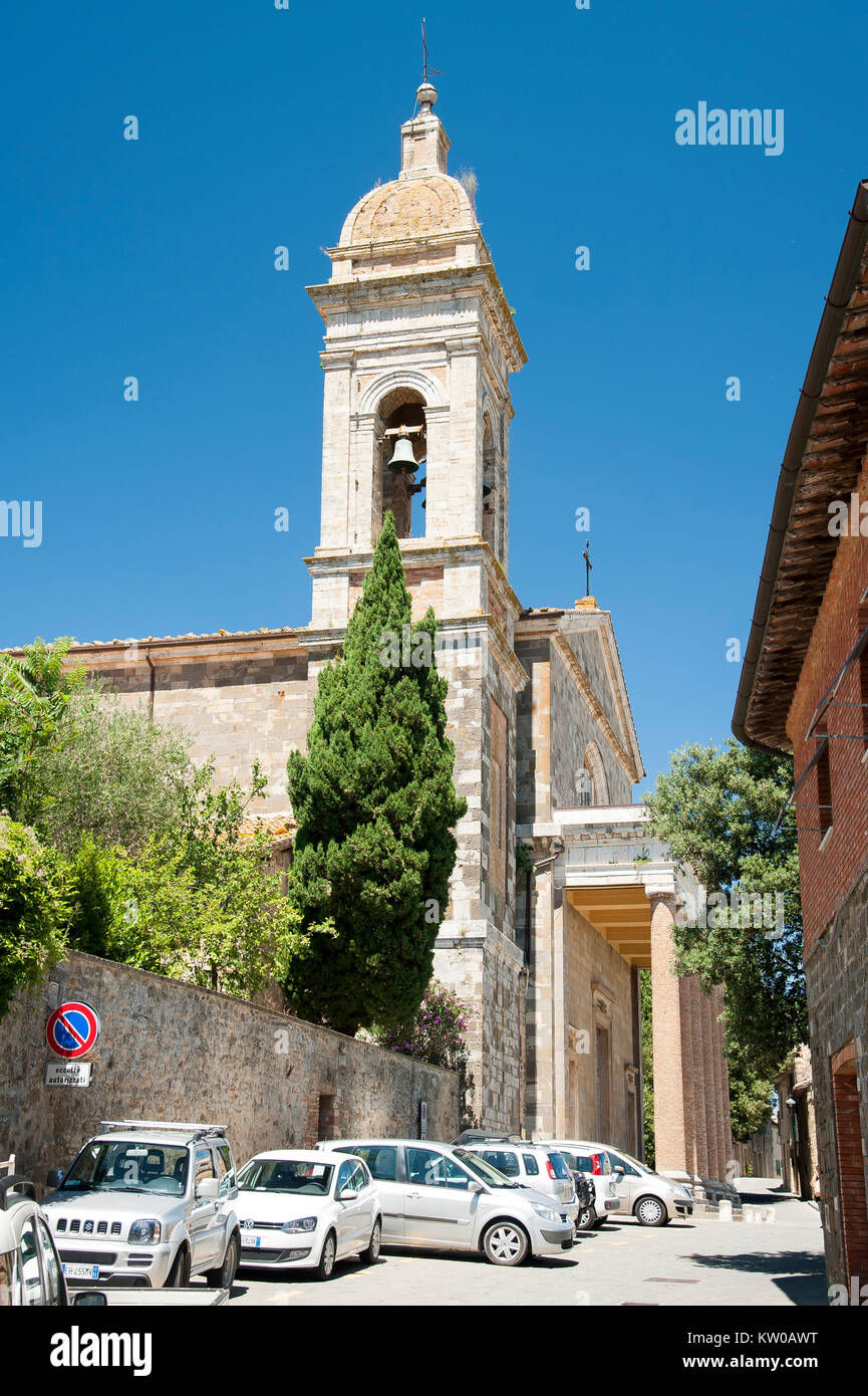 Neoclassical Concattedrale di San Salvatore (Co-cathedral of Holy Saviour) in Montalcino, Tuscany, Italy. 2 August - Stock Image