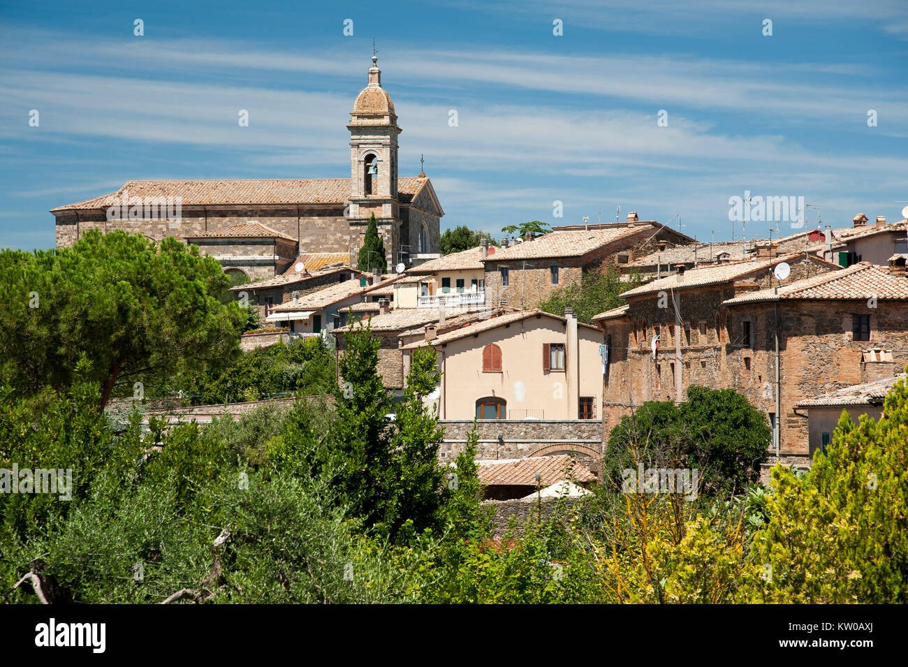 Neoclassical Concattedrale di San Salvatore (Co-cathedral of Holy Saviour) in Historical Old Town in Montalcino, - Stock Image