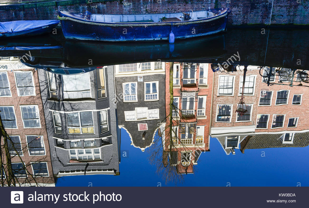 Photograph of a canal scene in Amsterdam Netherlands - Stock Image