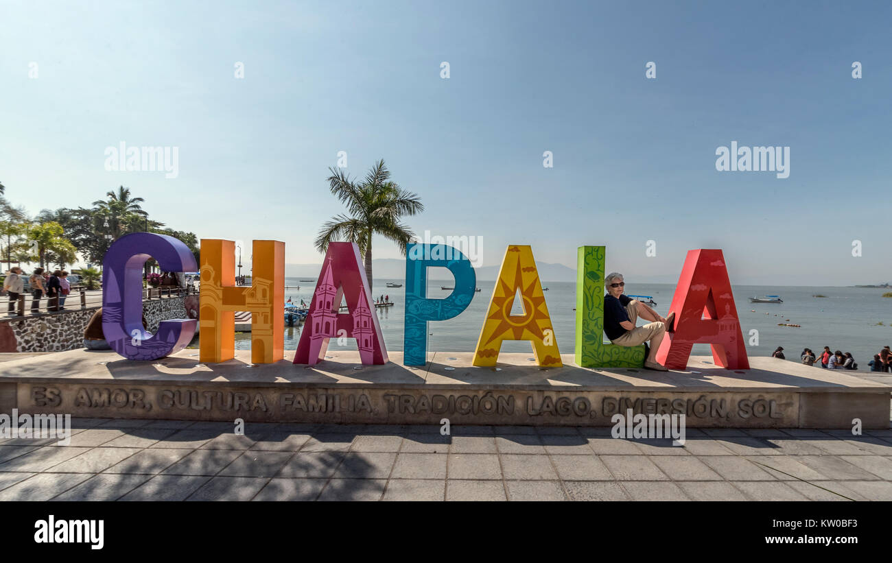 Big sign on the Malecon, Chapala, Jalisco, Mexico - Stock Image