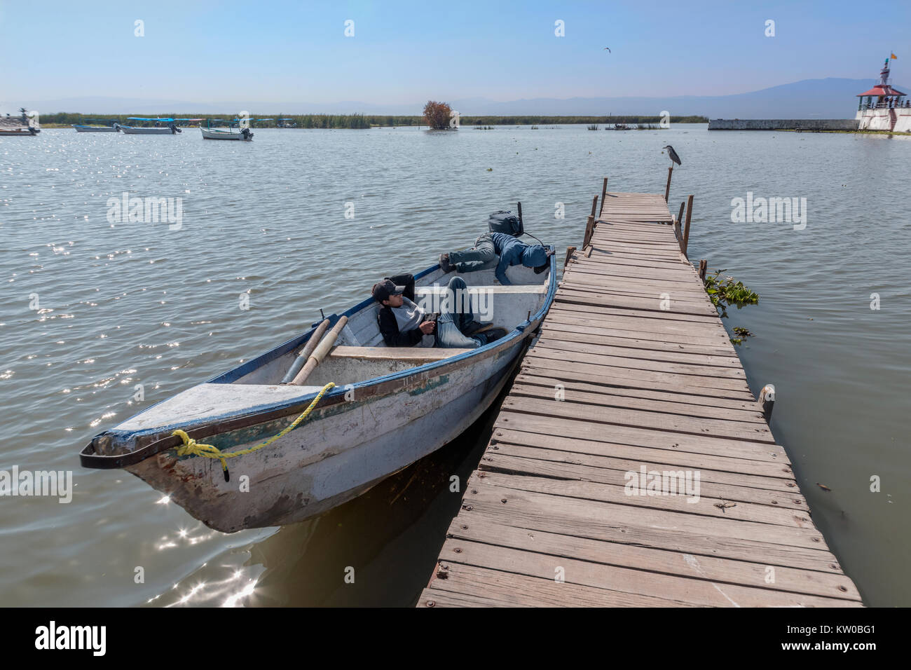 Siesta time at the harbour, Chapala, Jalisco, Mexico - Stock Image