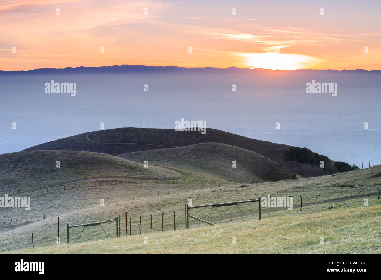 Silicon Valley Views from Sierra Vista Open Space Preserve. - Stock Image