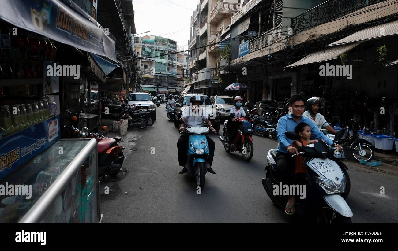 Ung Pokoun St 109 aka English Street off of Monivong Blvd in Phnom Penh Cambodia - Stock Image