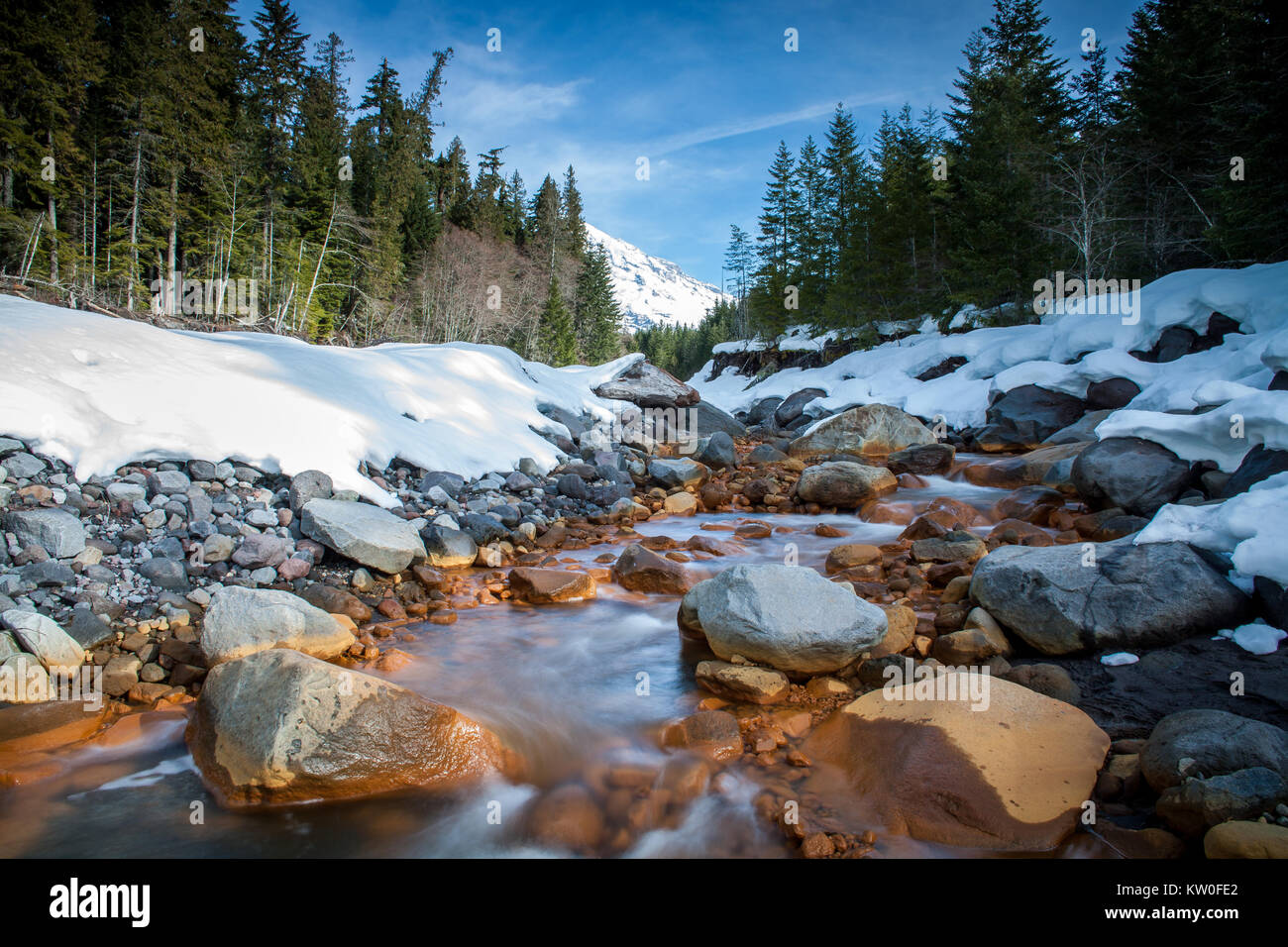 Kautz Creek is a tributary of the Nisqually River flowing from the Kautz glacier in Mt. Ranier National park.  It - Stock Image
