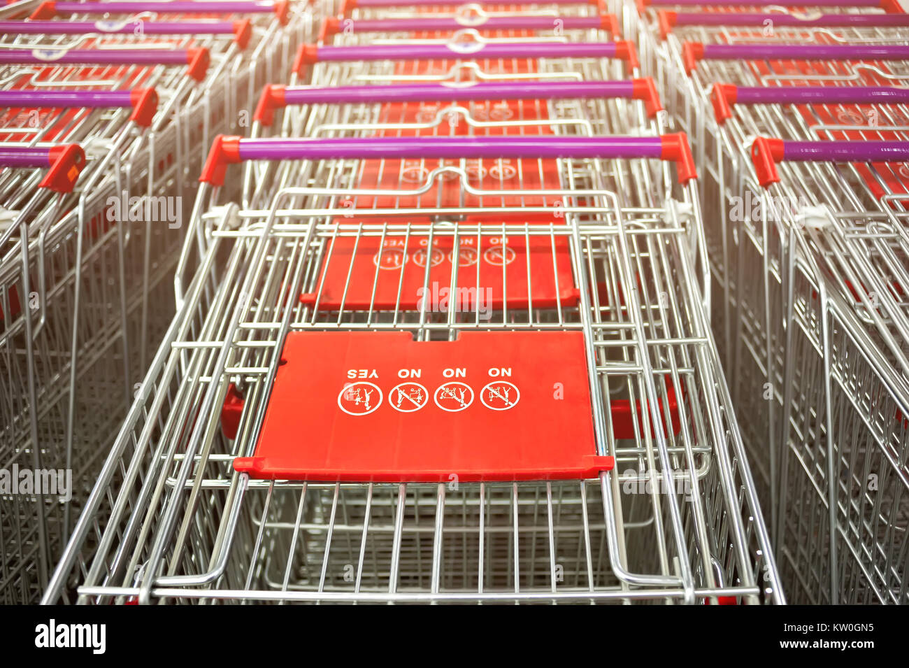 Row of supermarket shopping cart trolleys vintage look - Stock Image
