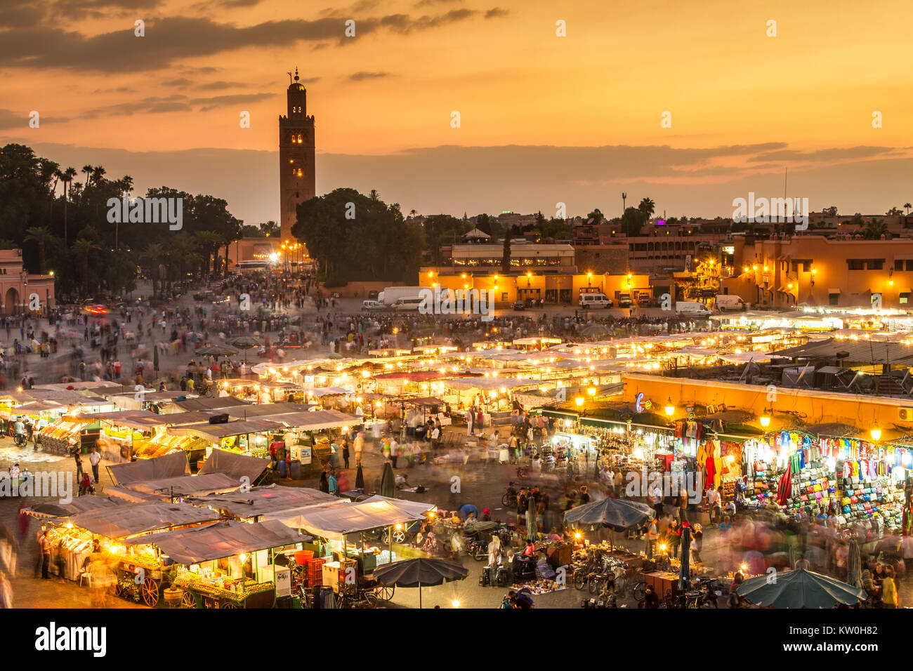 Jamaa el Fna market square in sunset, Marrakesh, Morocco, north Africa. - Stock Image