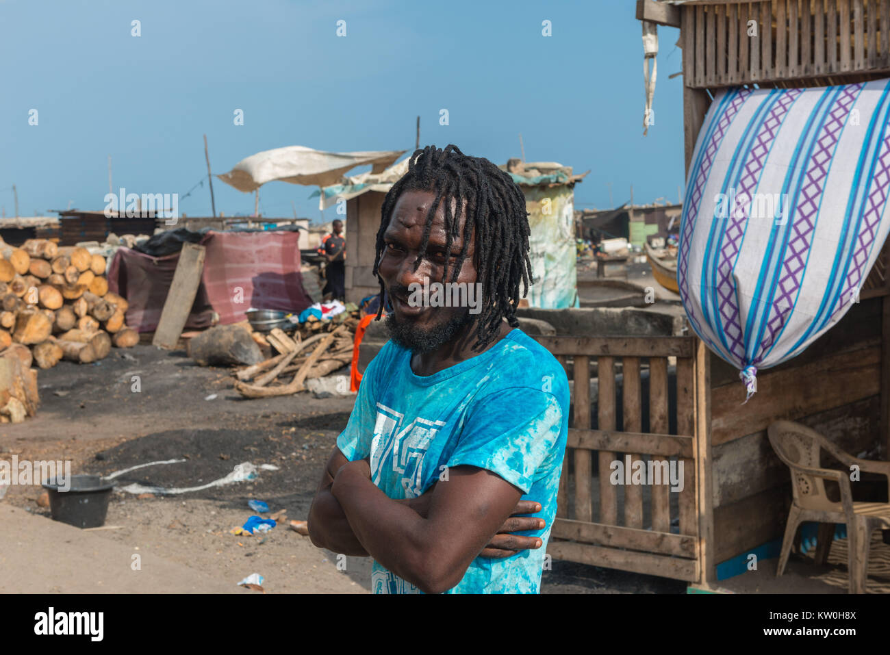 A tourist guide to Jamestown Fishing Village, Jamestown, Accra, Ghana - Stock Image