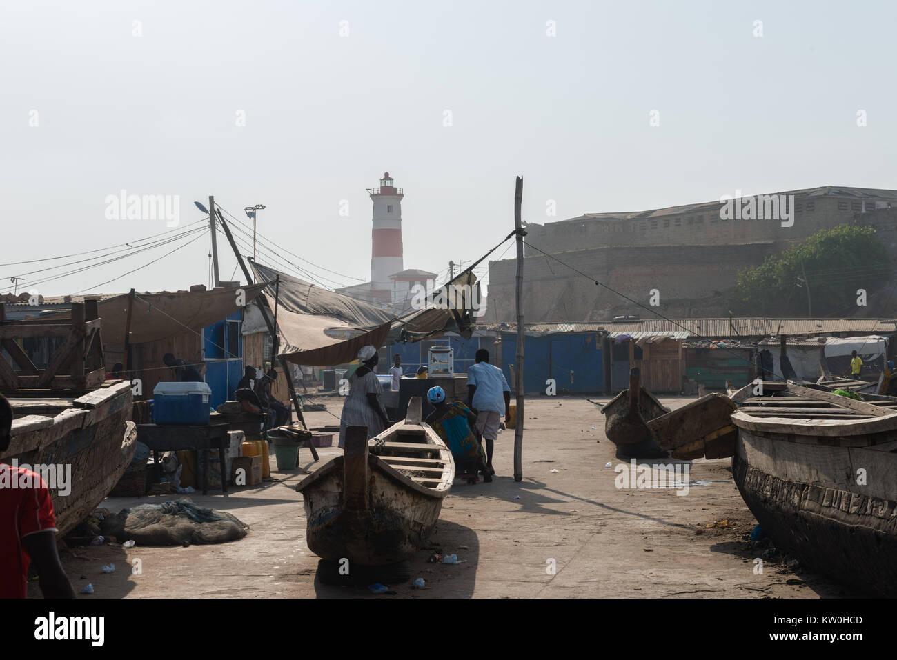 Jamestown lighthouse, 'Christ the King of Kings School' in Jamestown Fishing Village, Jamestown, Accra, - Stock Image