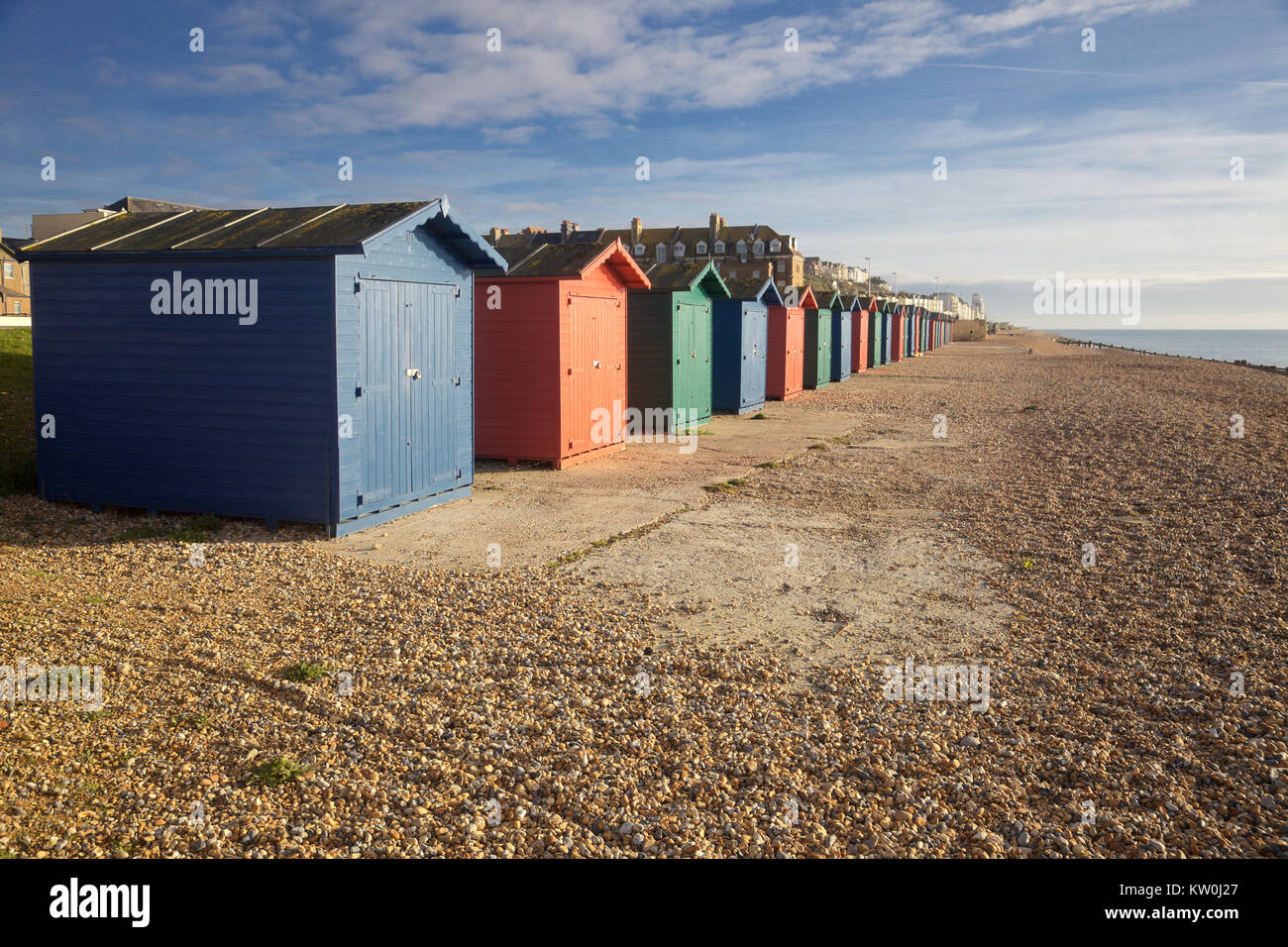 A row of beach huts in Hasting, East Sussex, England - Stock Image