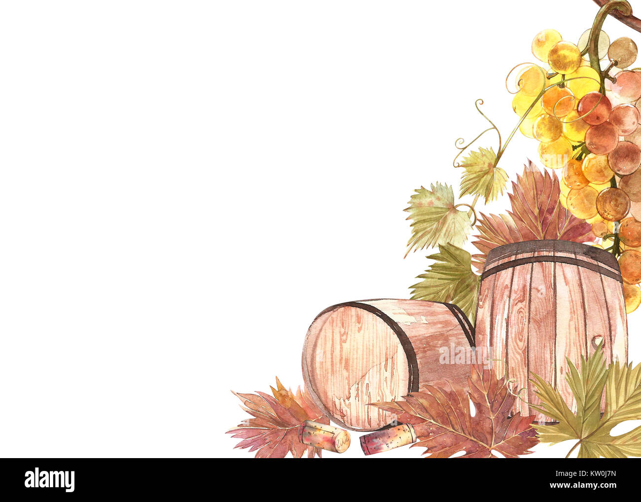 Wooden barrels and leaves of grapes, isolated on white. Hand drawn watercolor illustration. Banners of wine vintage Stock Photo