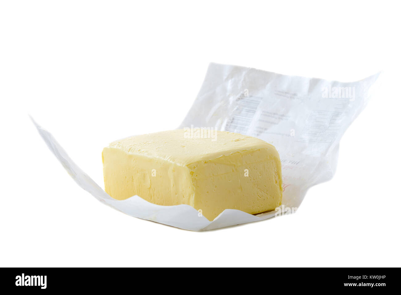 Close up of open pack of margarine or vegetarian butter on white backgraund. Stock Photo