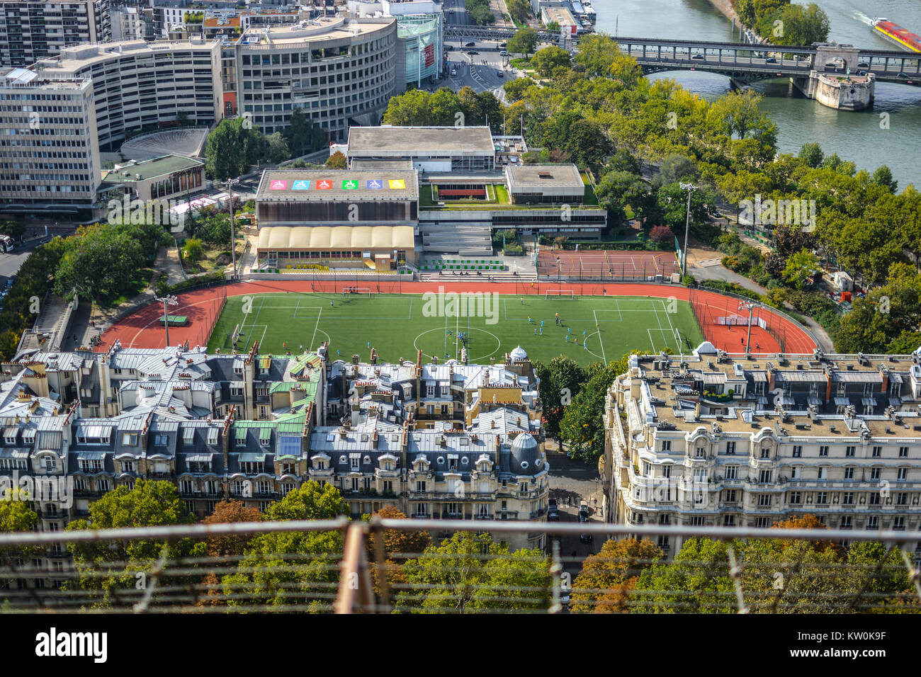 View of a school sports field from the first platform of the Eiffel Tower in Paris France - Stock Image