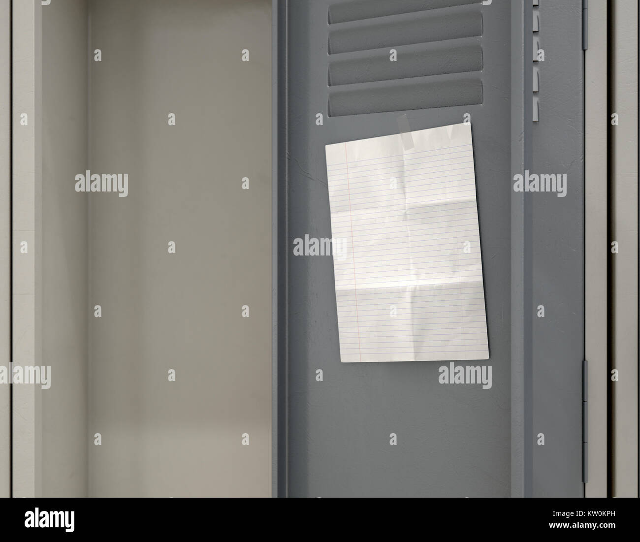 A Row Of Metal School Lockers With One Open Door And A Blank Page Stock Photo Alamy