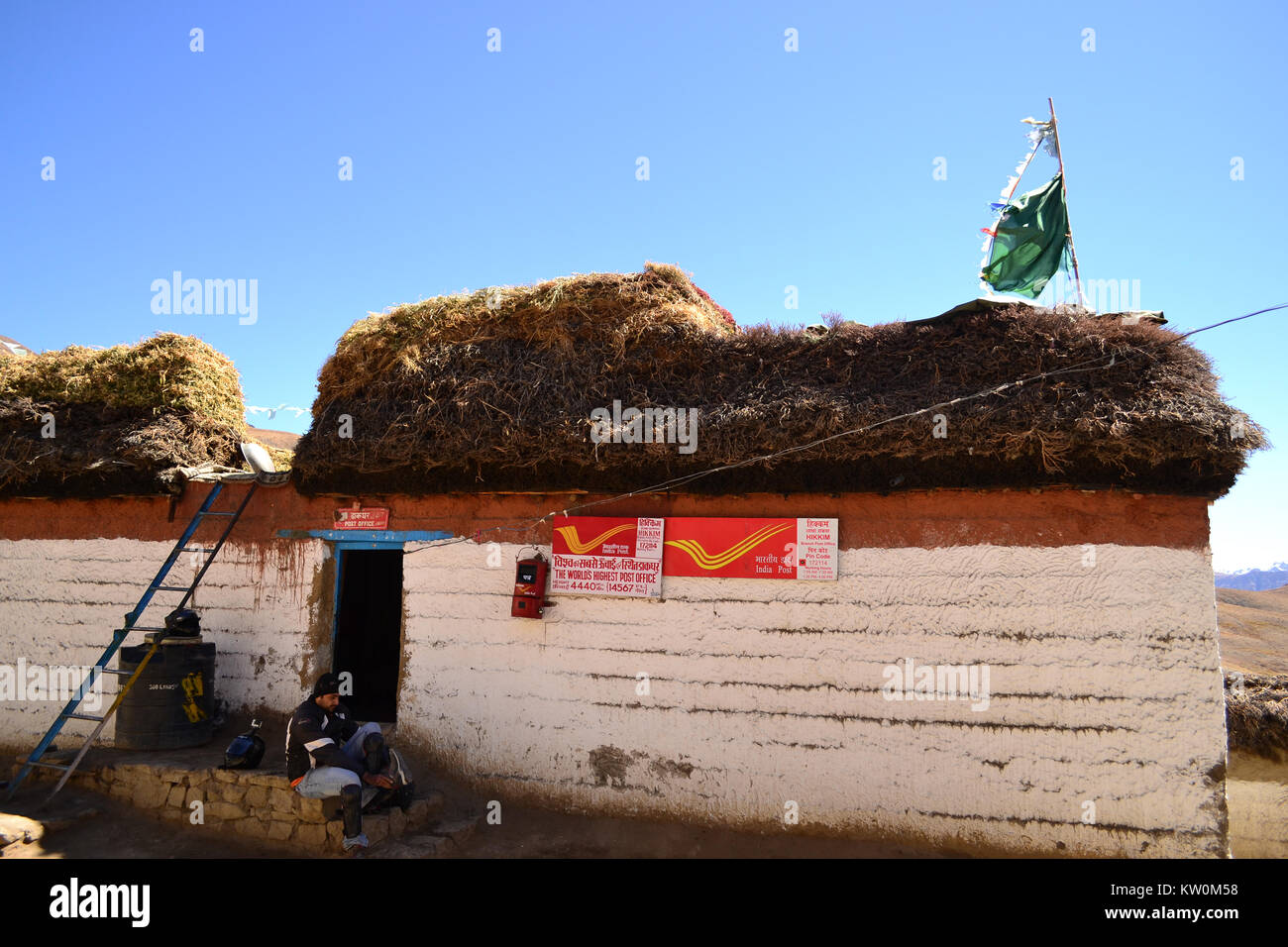 Highest Post office in the world. Hikkim, Himachal Pradesh - Stock Image