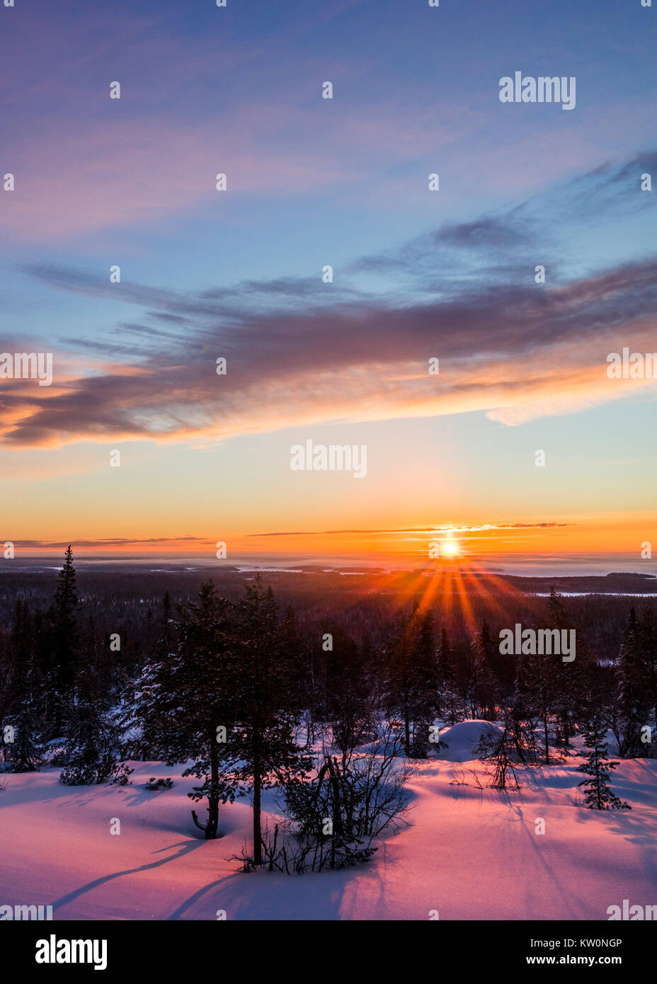 Winter sunrise in Finland - Stock Image