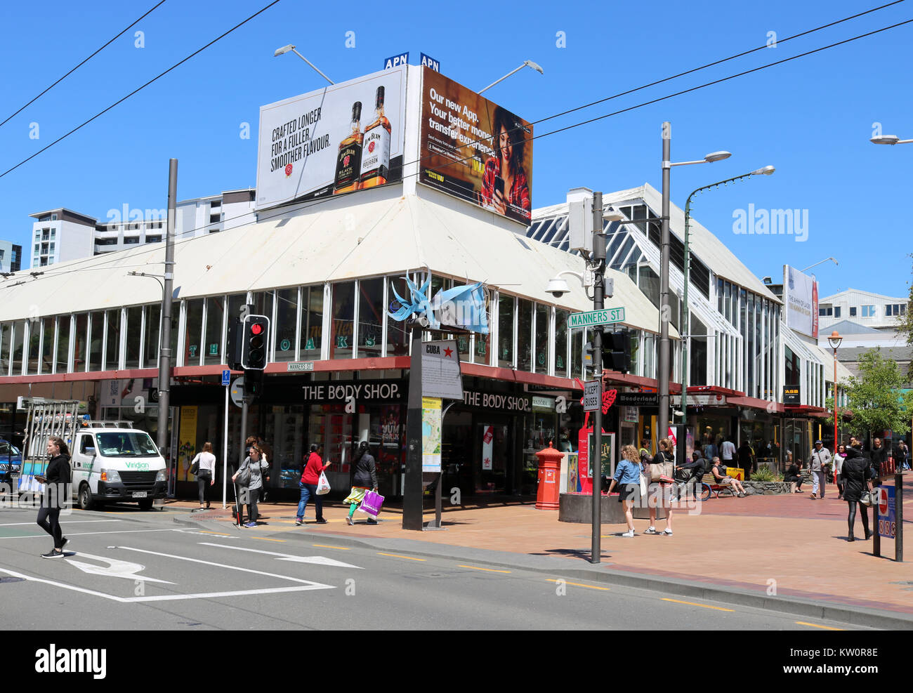 View across Manners Street in the center of Wellington, New Zealand and looking up pedestrianized part Cuba Street - Stock Image