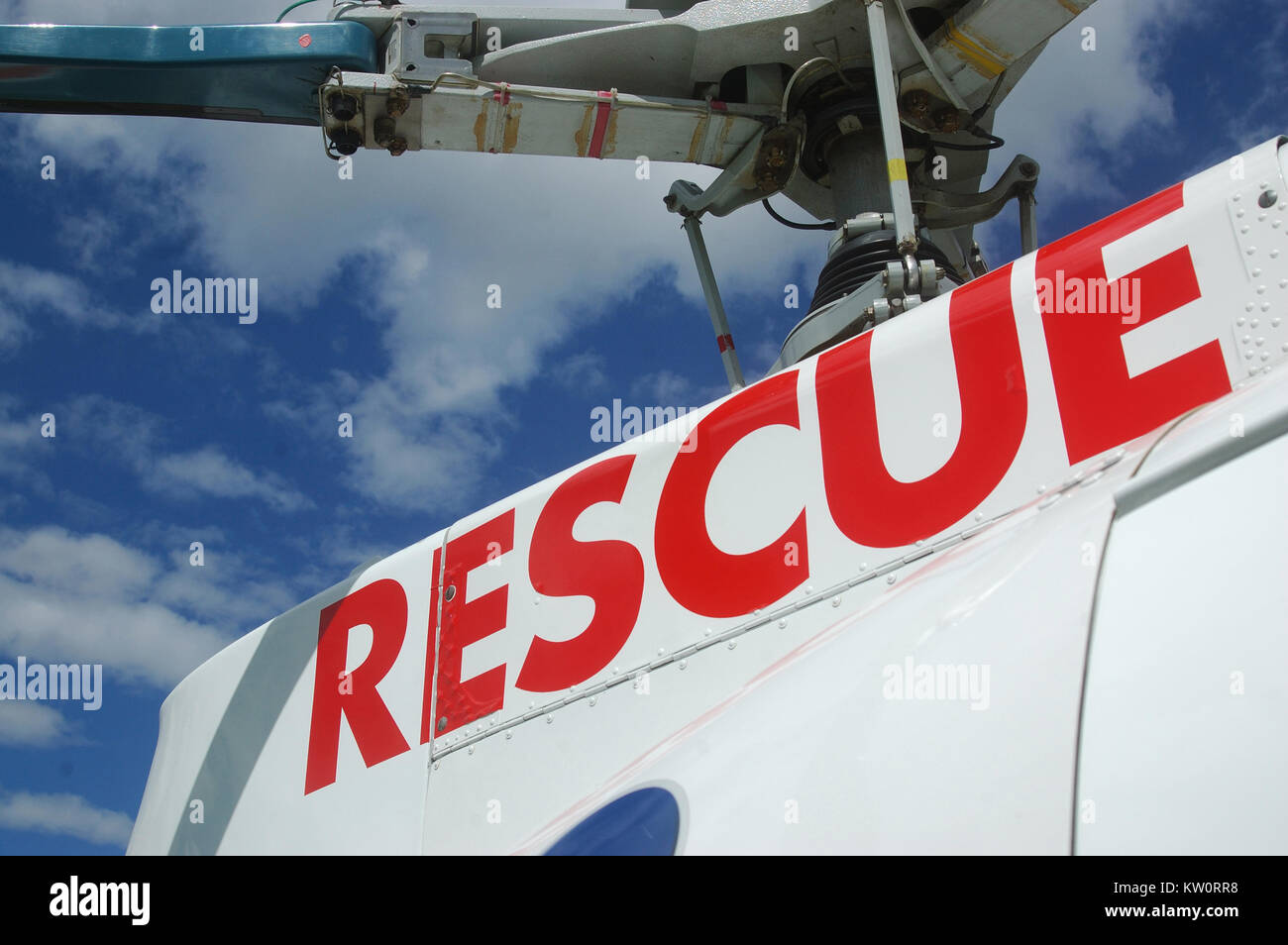 rescue signage on helicopter - Stock Image