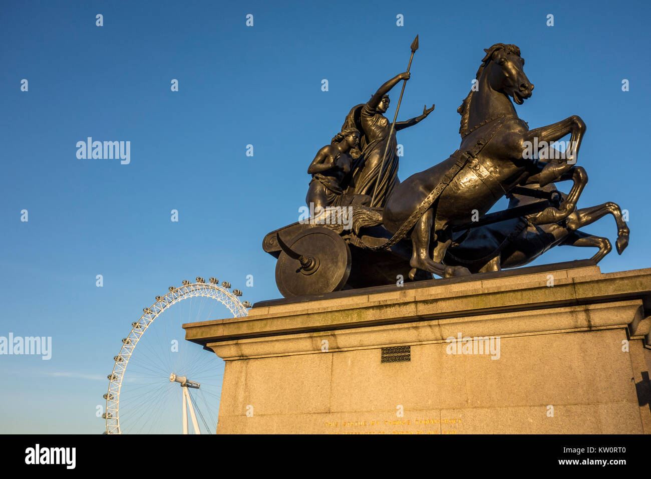Boadicea and Her Daughters - bronze sculpture by Thomas Thornycroft, Victoria Embankment with London Eye in background, - Stock Image