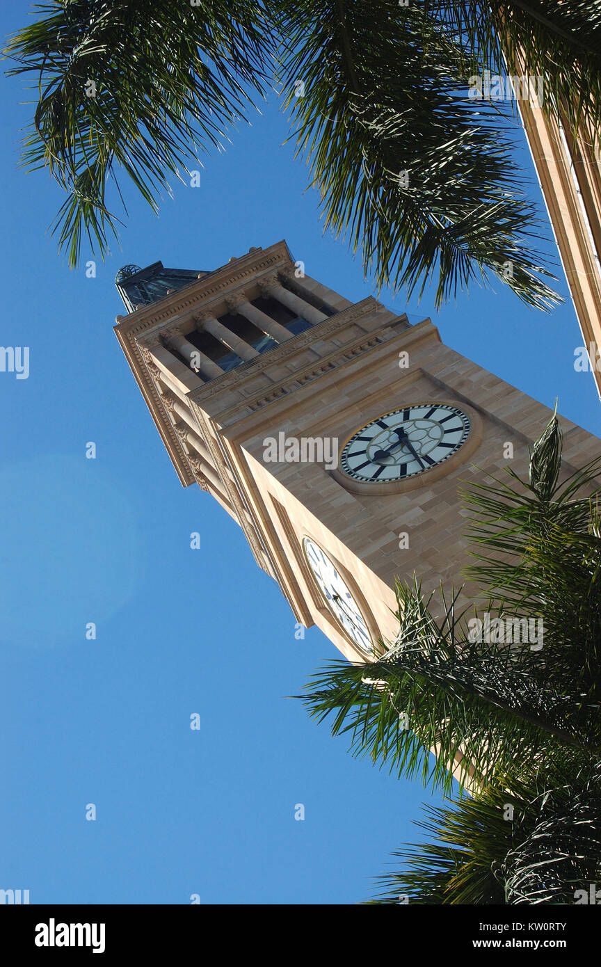 Clock tower of City Hall, Brisbane, Queensland, Australia - Stock Image