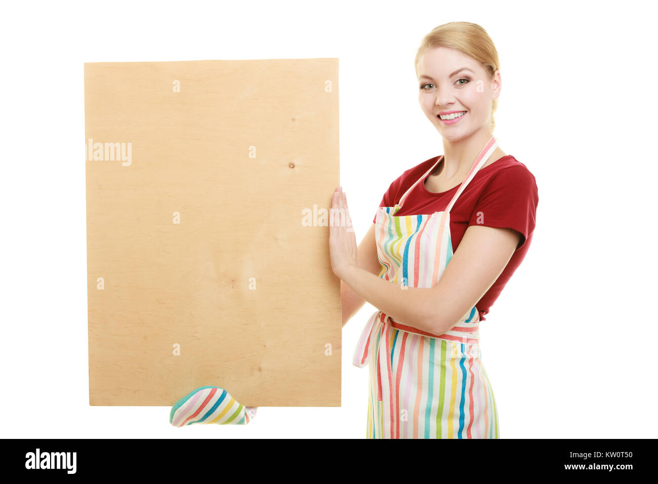 housewife in kitchen apron or small business owner with empty blank banner sign for restaurant menu recipe. Girl Stock Photo