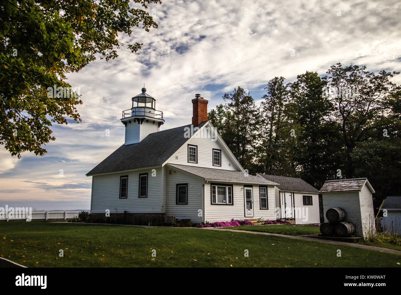 Old Mission Point Lighthouse In Michigan. The Old Mission Point lighthouse is a popular landmark in Traverse City, Stock Photo
