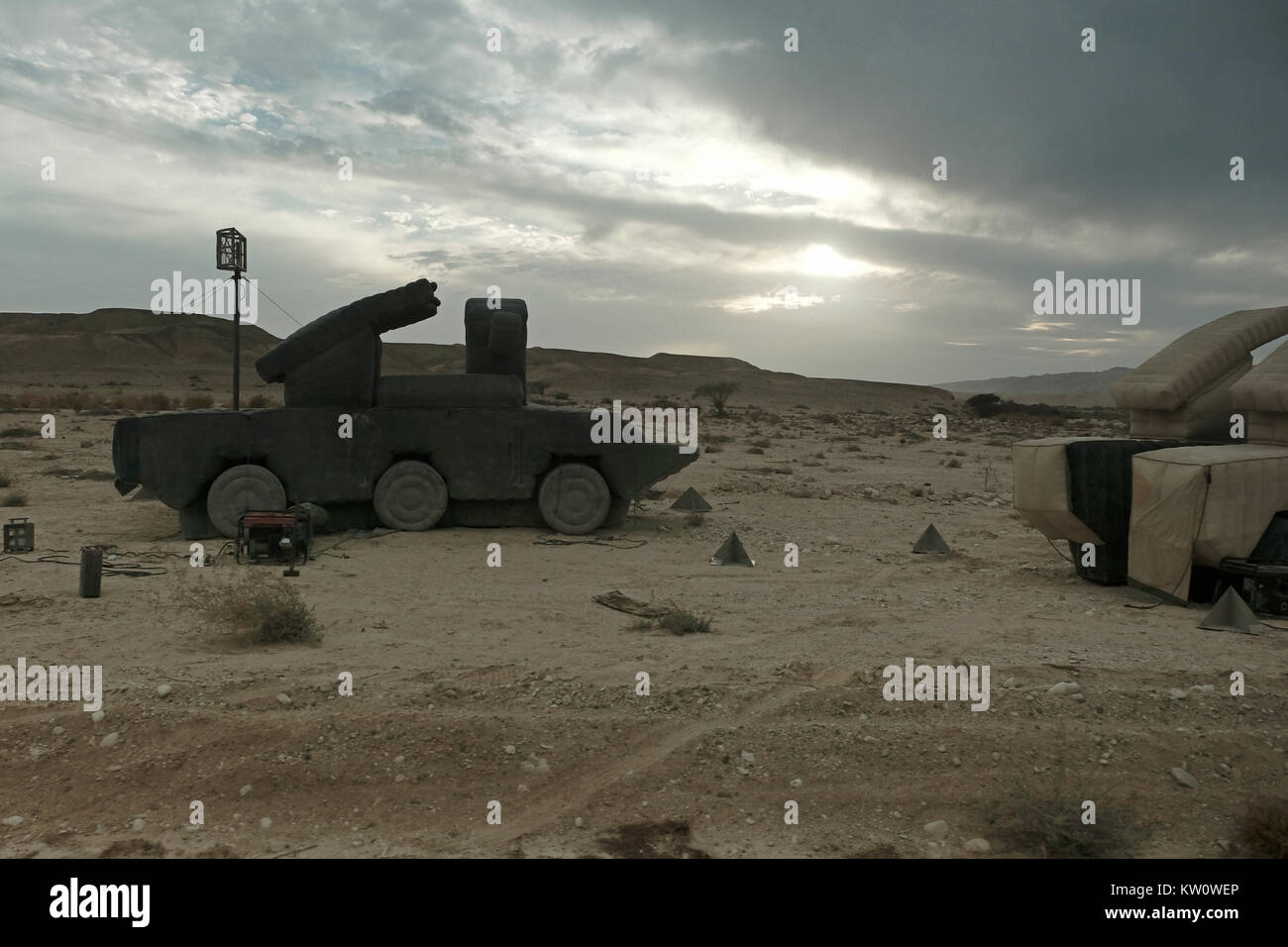 Inflatable decoy missile system of the Israeli military defense deployed in the western of the Arabah valley known Stock Photo