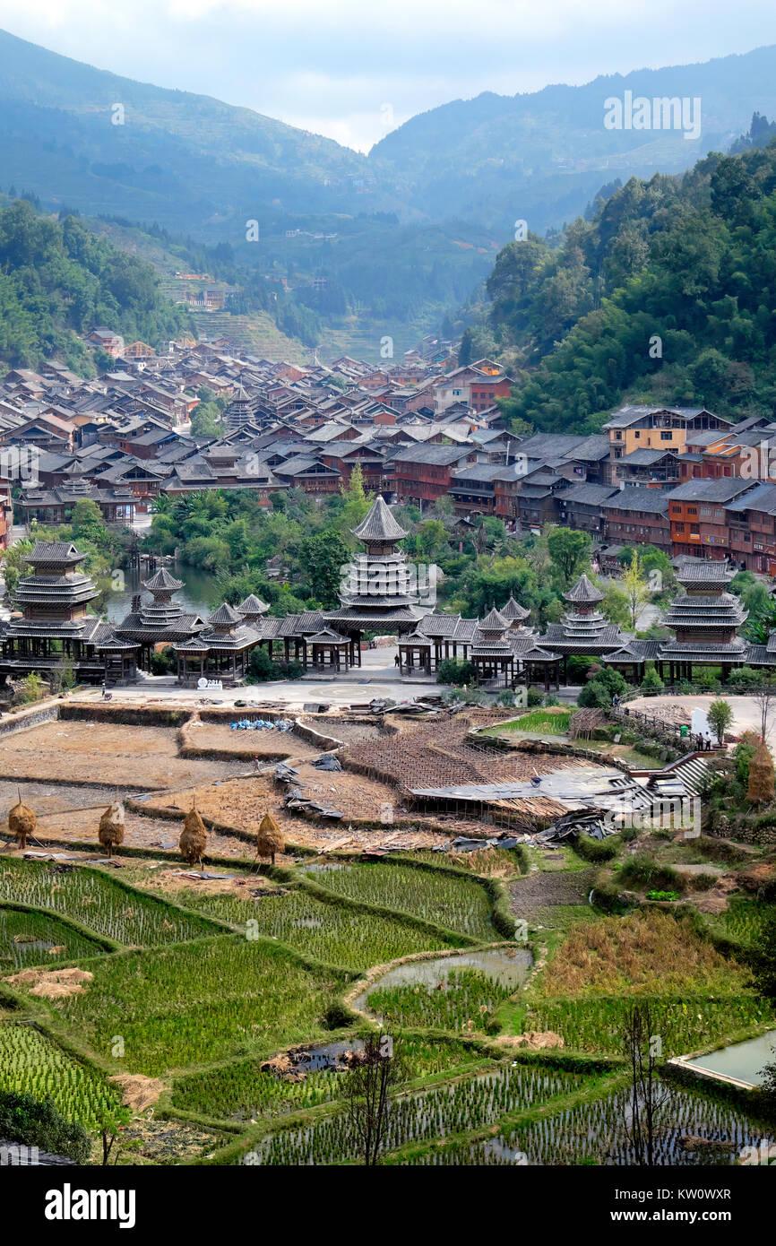 Zhaoxing Village, Liping County, Guizhou Province, China Stock Photo