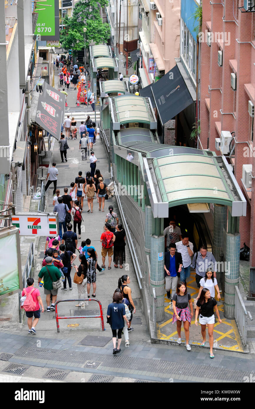 Central–Mid-Levels escalator and walkway system, Hong Kong Island, China - Stock Image
