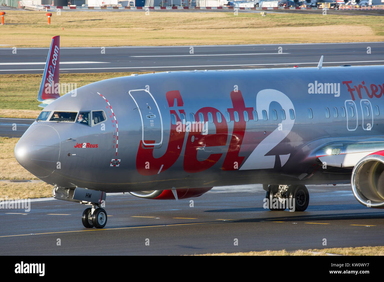 Jet2 Airways Boeing 737-800 aircraft taxying at Birmingham International Airport in England. - Stock Image