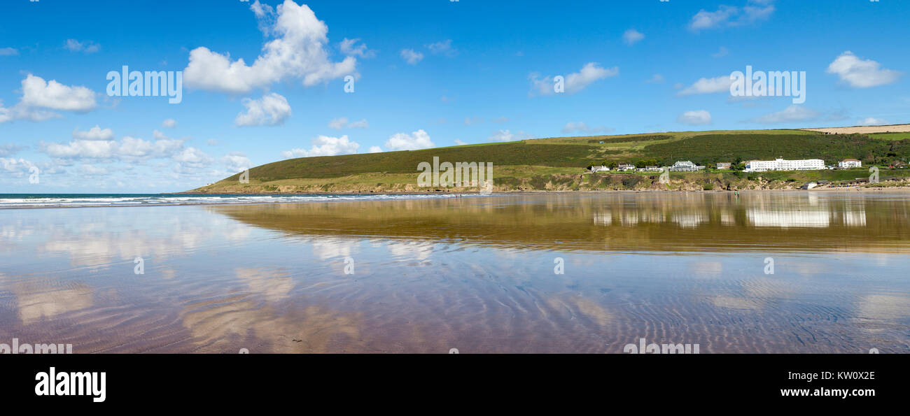 Panoramic View of Saunton Sands in North Devon, UK Stock Photo