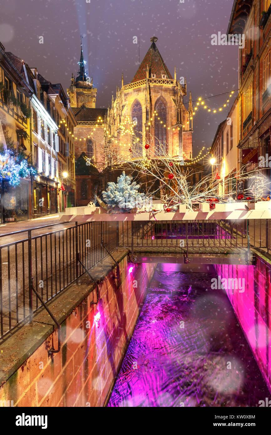 Christmas Saint Martin Church in Colmar, France - Stock Image