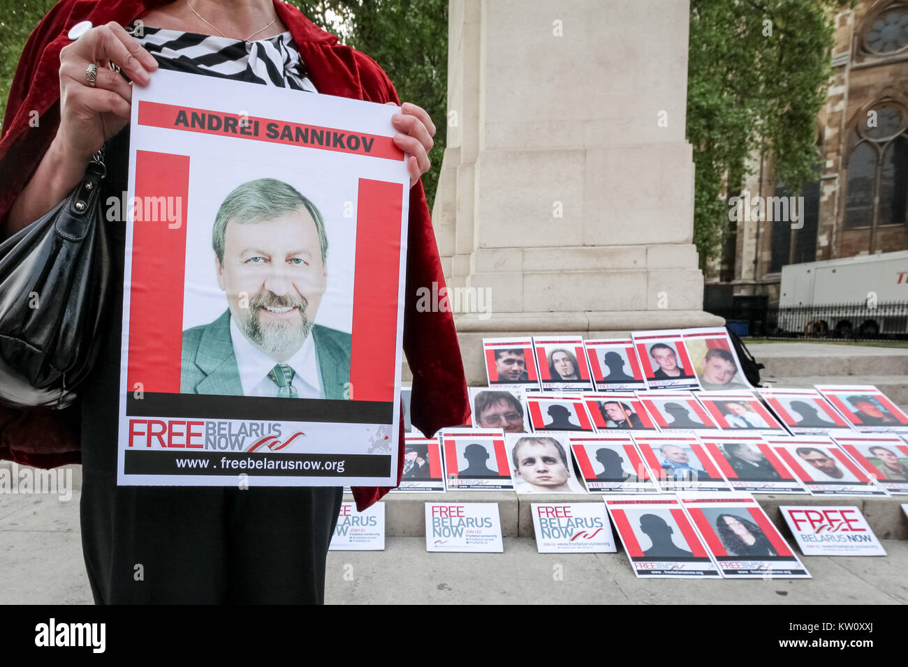 Free Belarus Now protest opposite Westminster's Parliament buildings. London, UK. - Stock Image