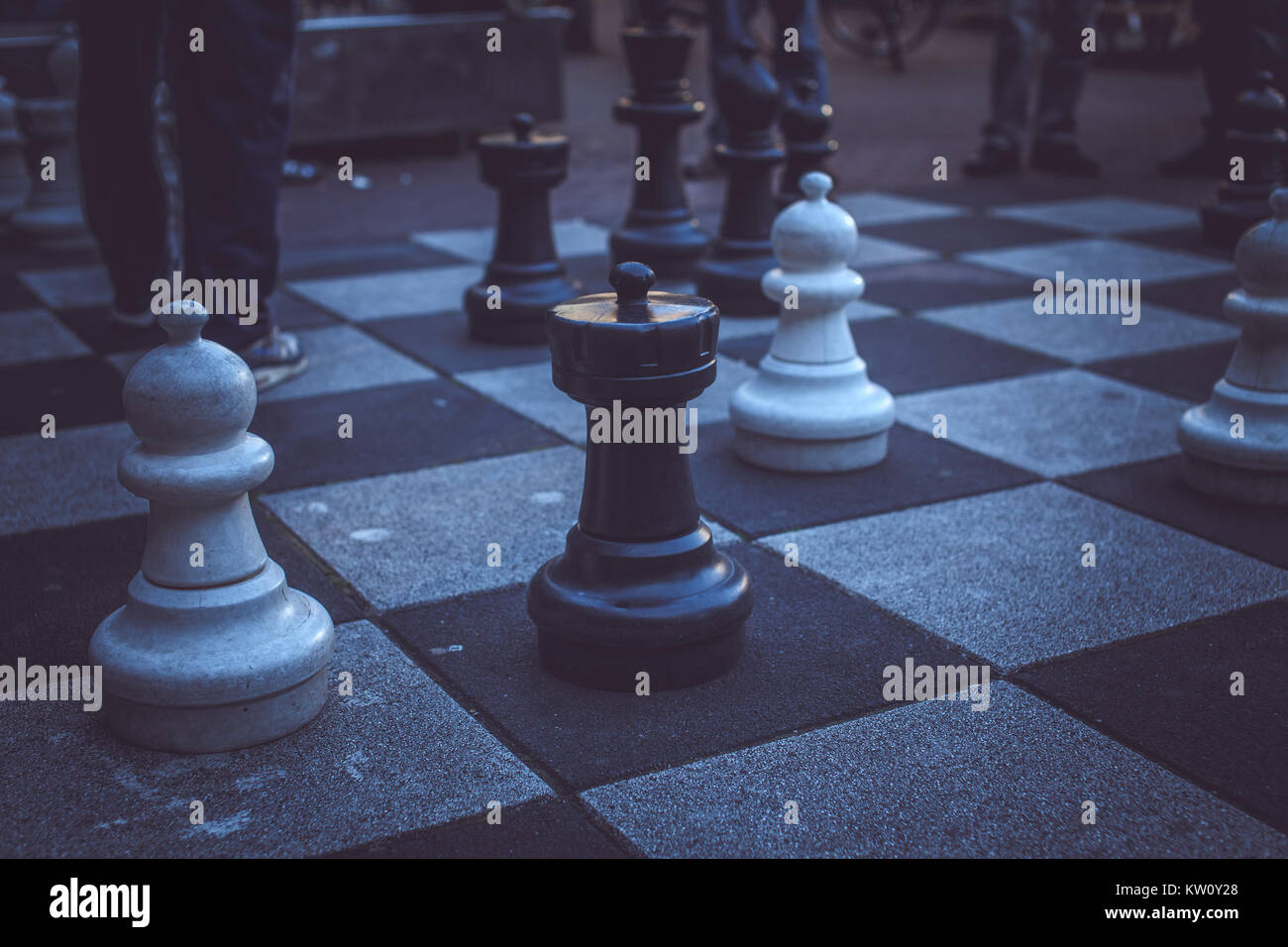 Big chess board on the street. - Stock Image