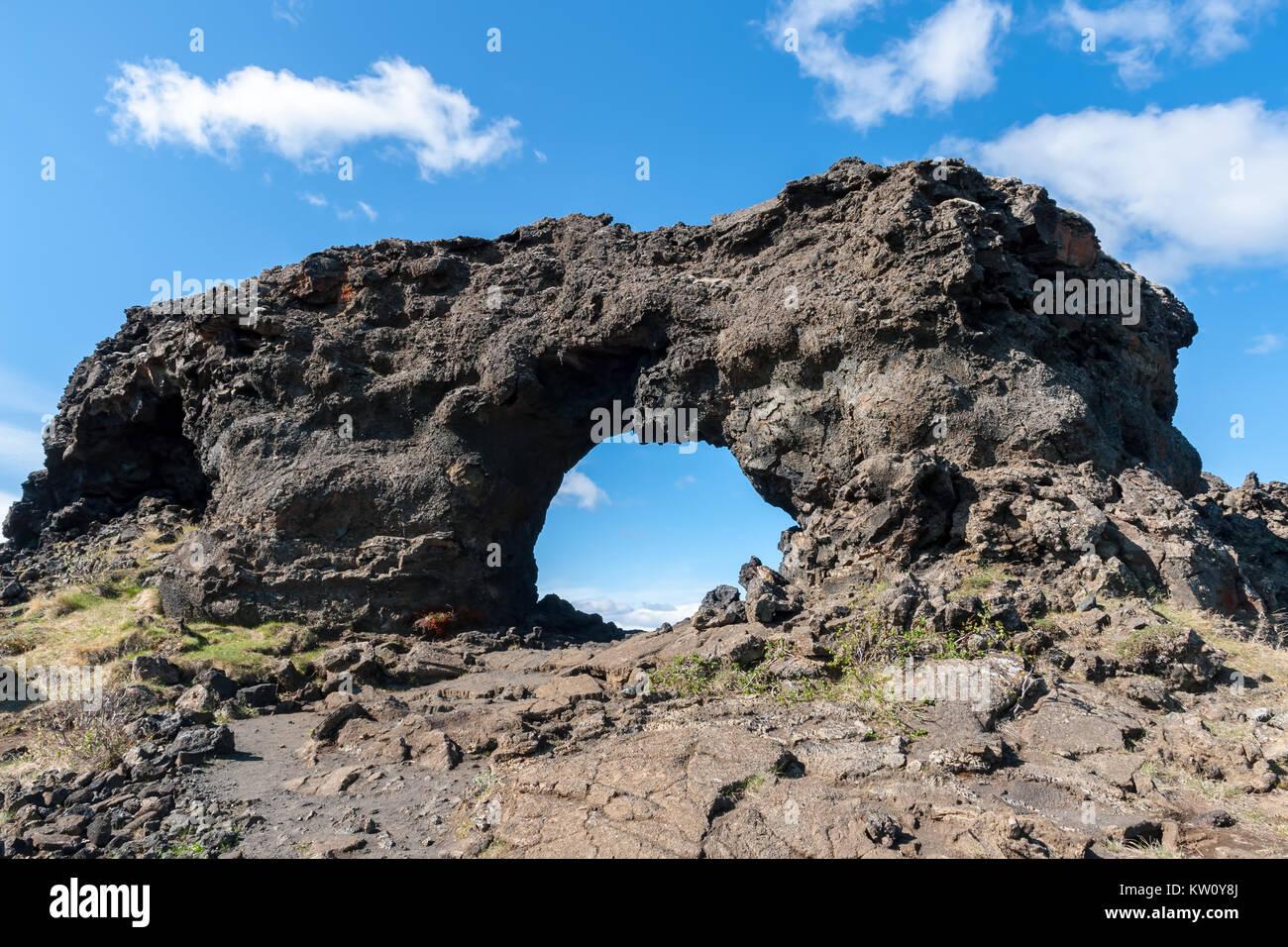 Lava window at Dimmuborgir, Myvatn area - Iceland - Stock Image