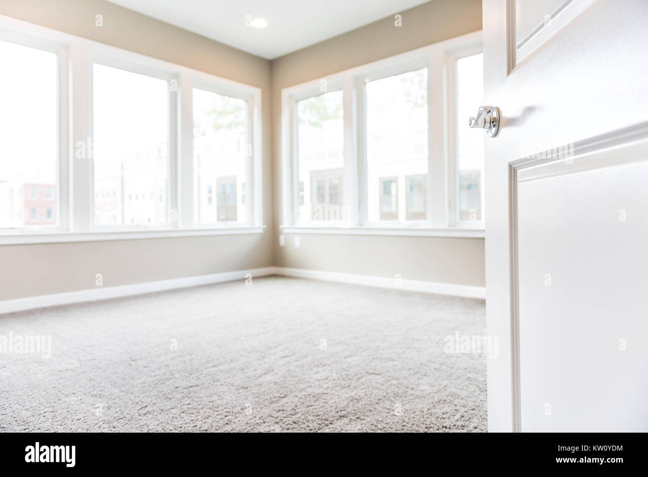 empty apartment bedroom. Empty Bedroom Entrance In New Modern Luxury Apartment Home With Many Large  Windows Bright Light And Carpet