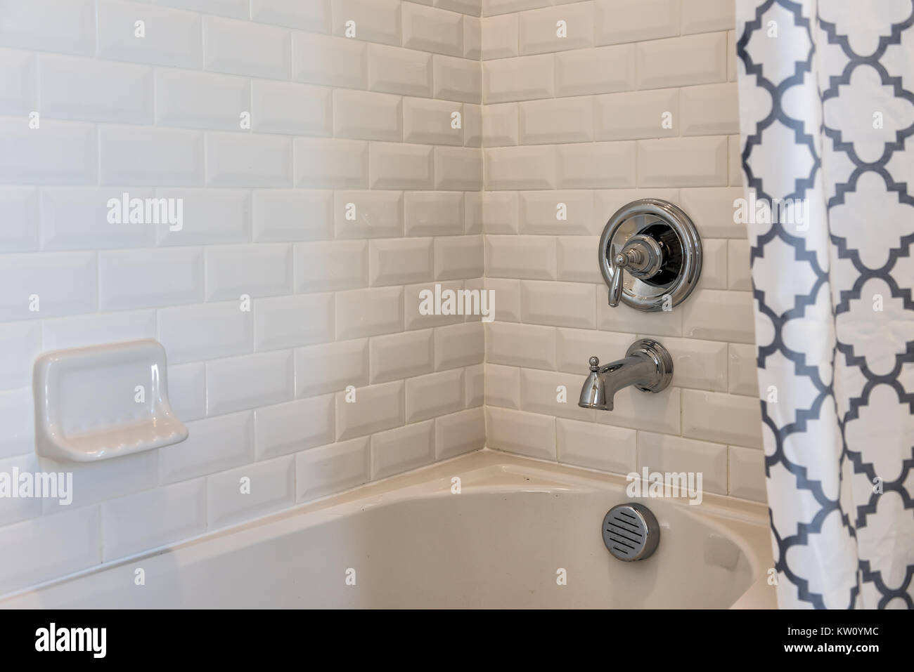 Closeup of modern white shower bath tub with blue curtains in Stock ...