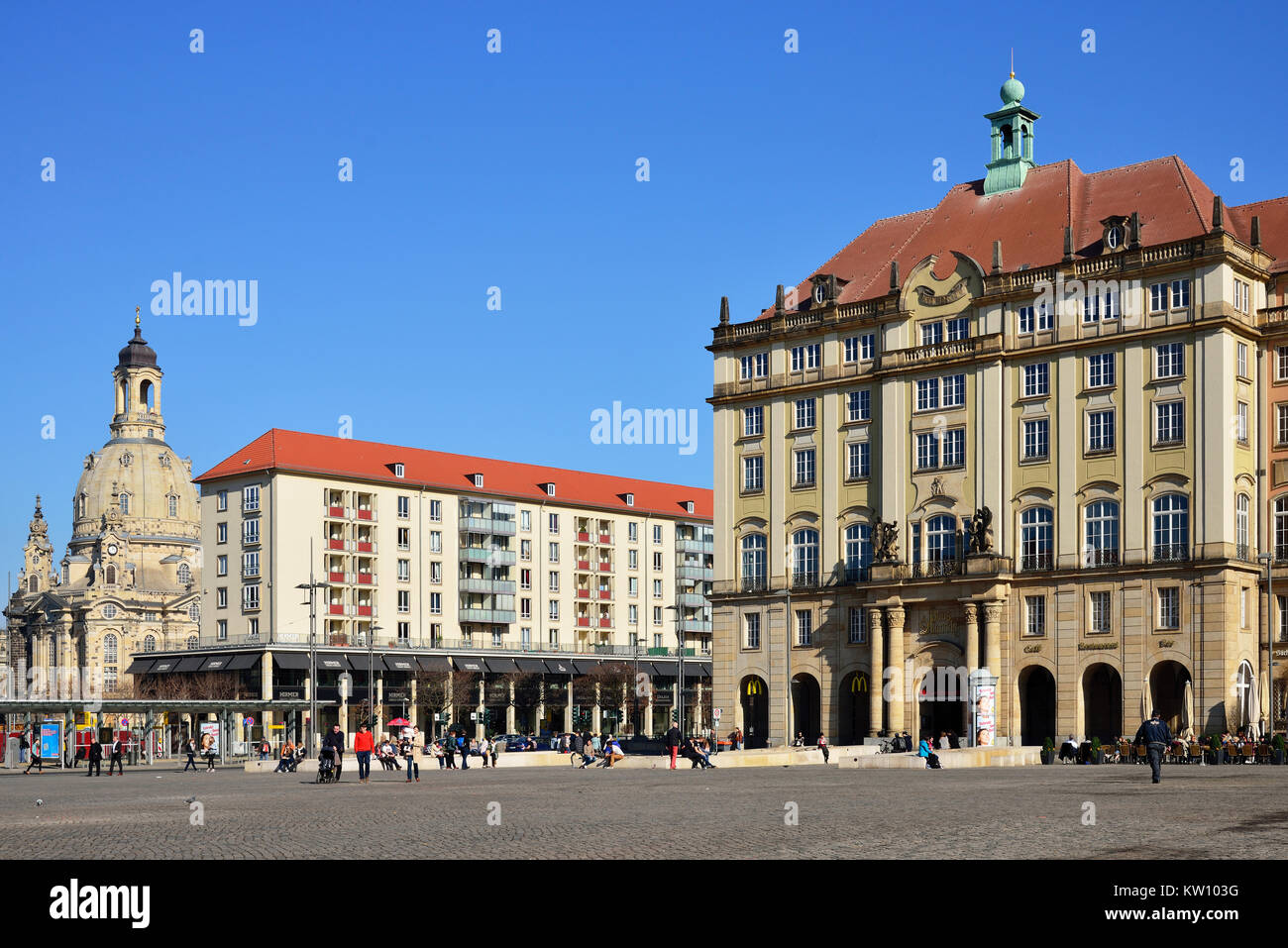 Dresden, house Old market and Church of Our Lady, Haus Altmarkt und Frauenkirche - Stock Image