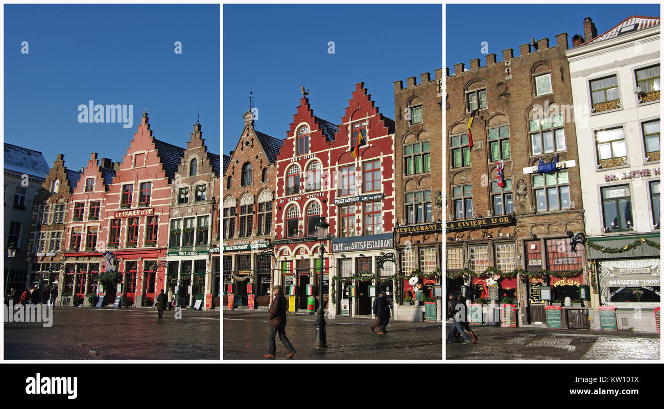 Bruges, Belgium. Old market square (Triptych: picture molded into 3 fields for  printing decorative panels) - Stock Image