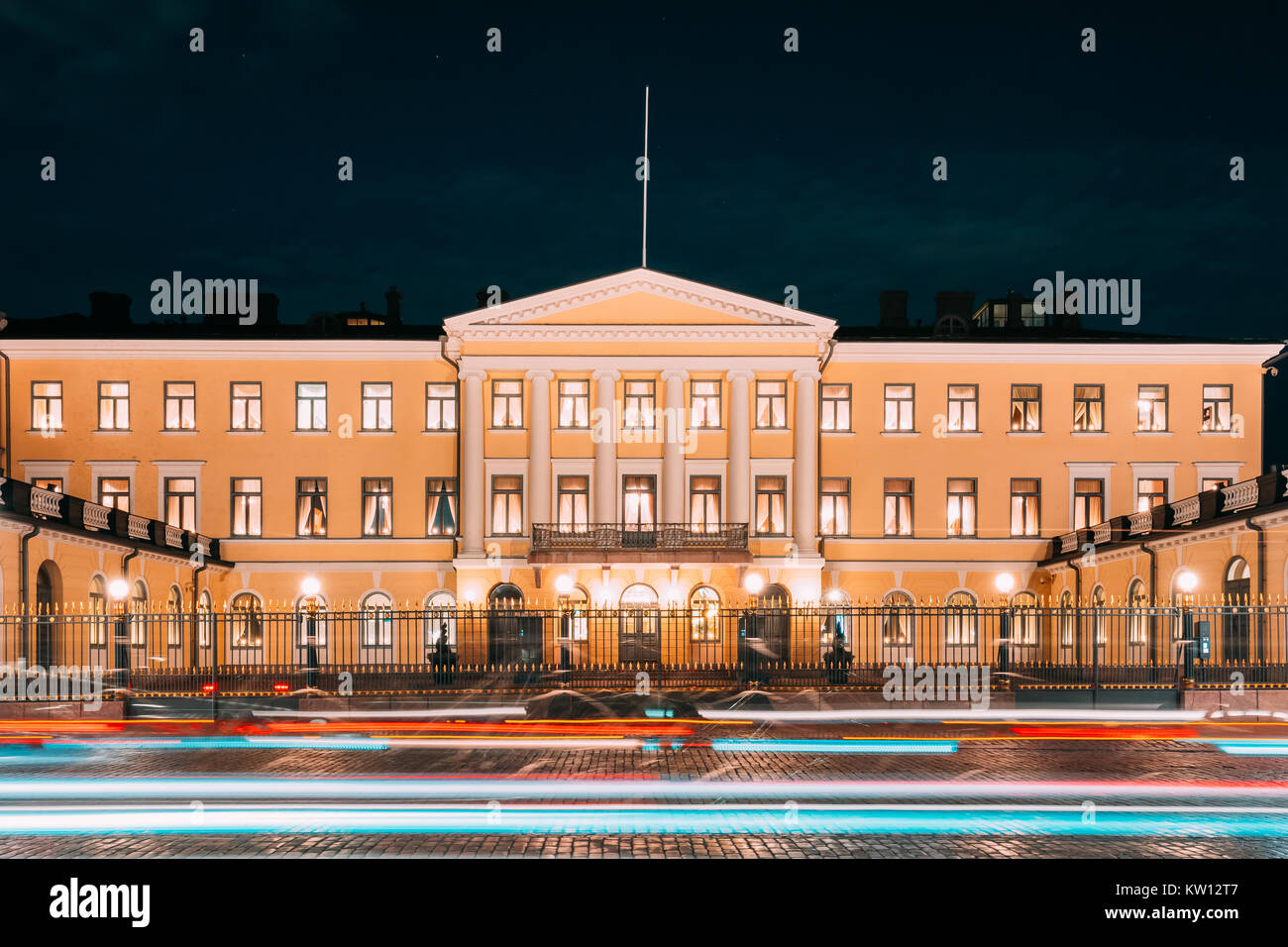 Helsinki, Finland. Presidential Palace In Evening Illuminations. Office Of President And Private Apartments For - Stock Image