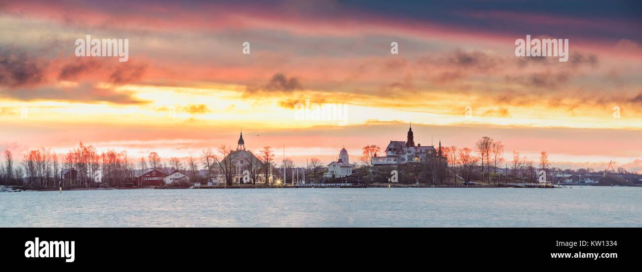 Helsinki, Finland. Panoramic View Of Sunrise Landscape Of Blekholmen Valkosaari Island And Luoto Island. - Stock Image