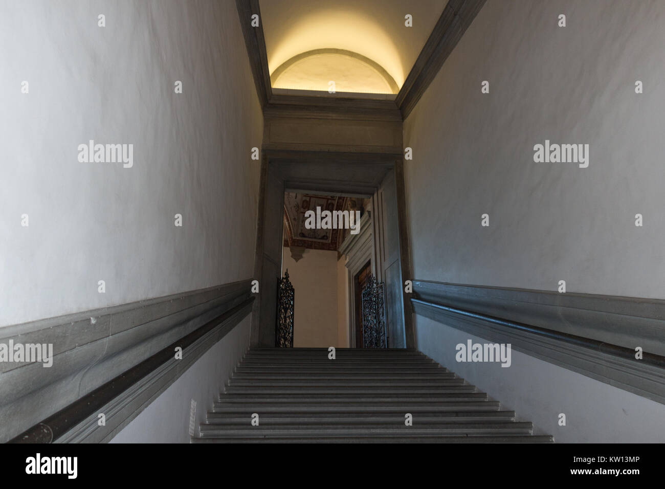 Italy, Florence - May 18 2017: the view of staircase in Palazzo Vecchio on May 18 2017 in Florence, Tuscany, Italy. Stock Photo