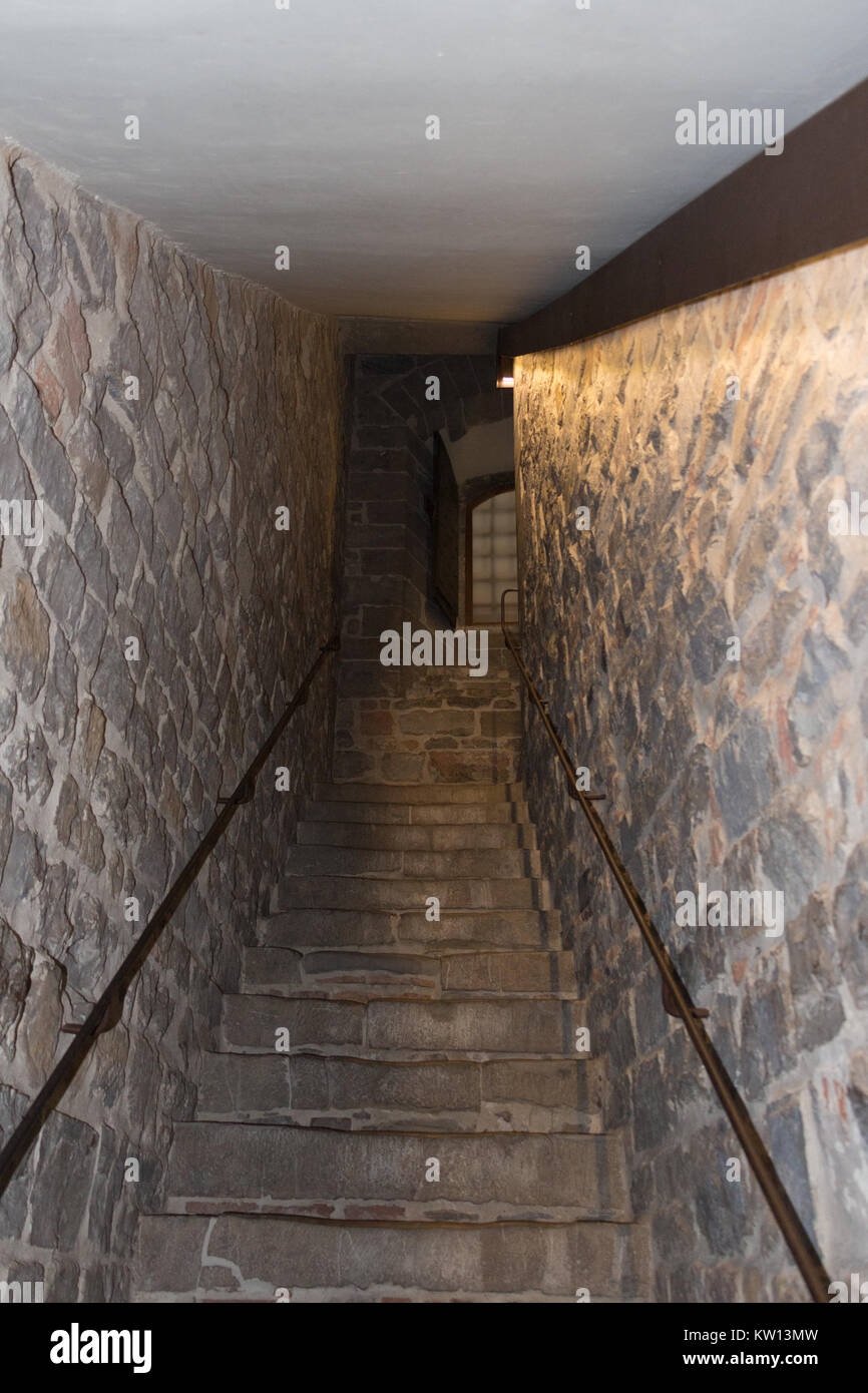 Italy, Florence - May 18 2017: the view of the staircase in Palazzo Vecchio on May 18 2017 in Florence, Tuscany, Stock Photo