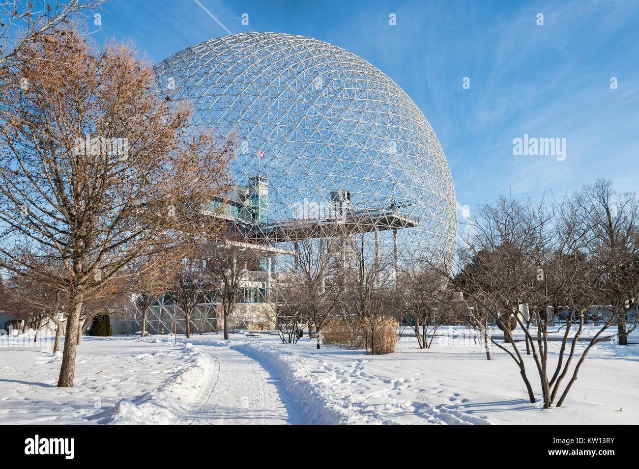 Montreal, CA - 28 December 2017: Biosphere in Parc Jean Drapeau, in winter - Stock Image