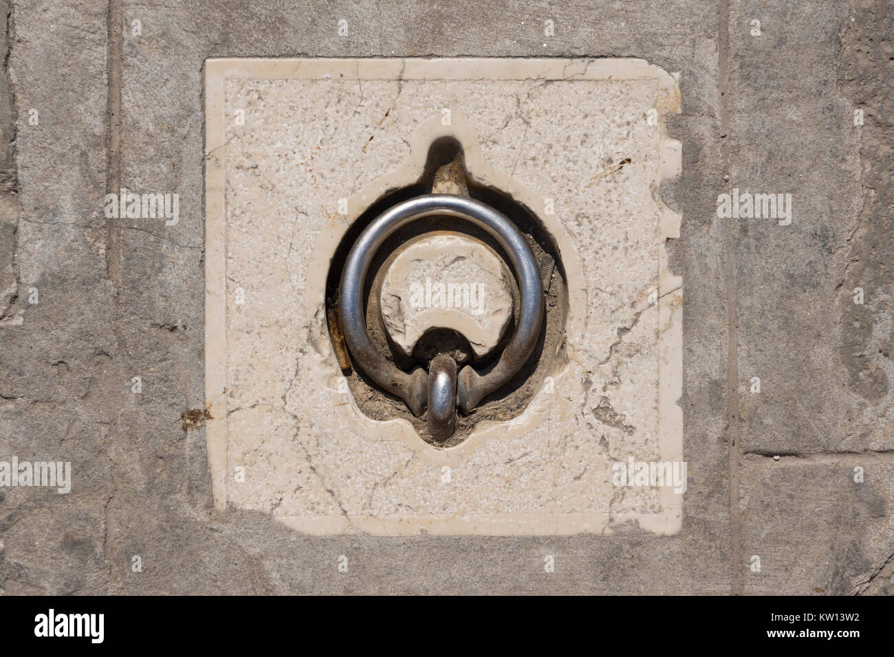 A typical mooring ring in Murano, Venice - Stock Image