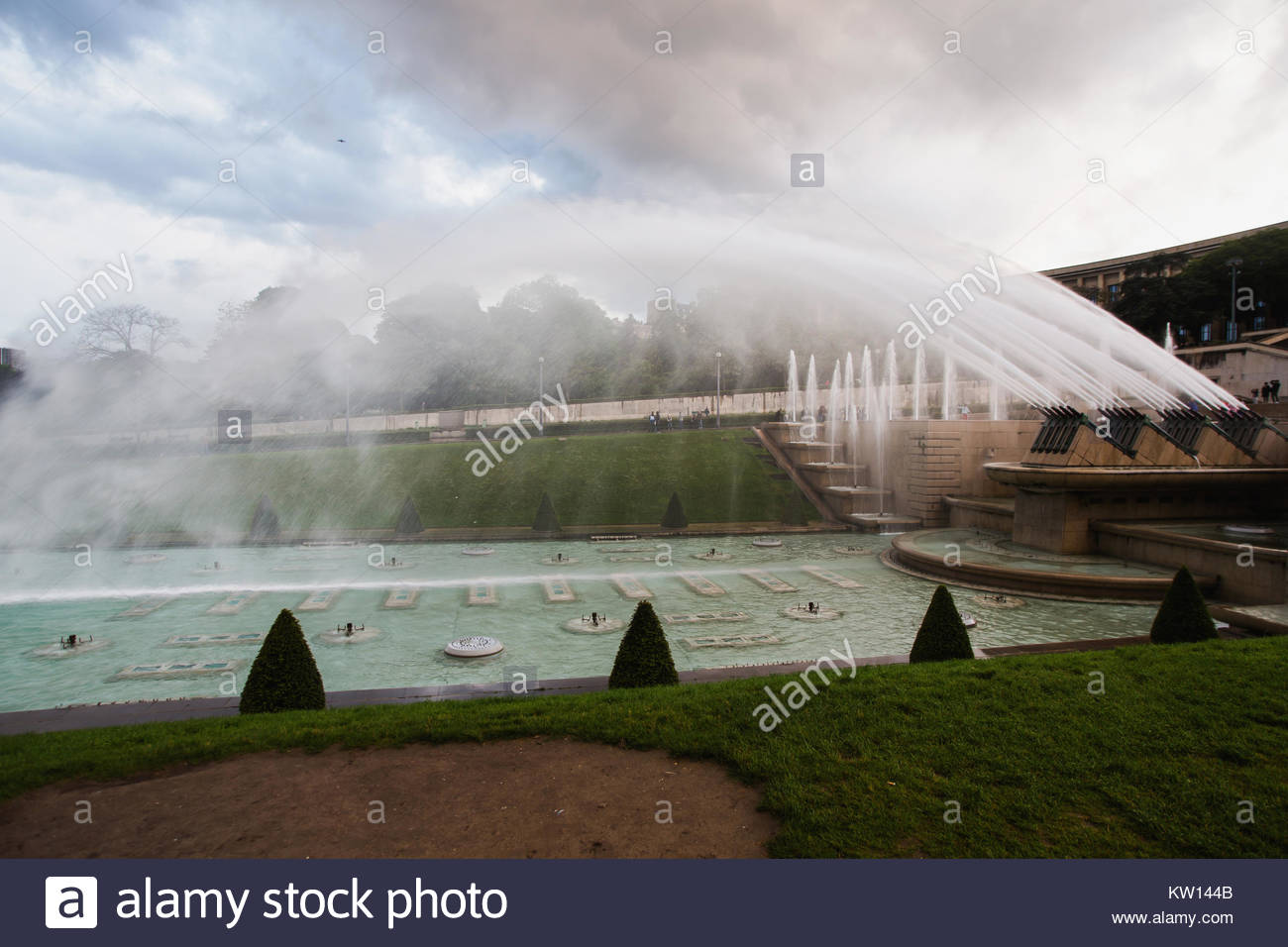 Fountains in Paris at the Trocadero square near the Palace of Chaillot. Travel through Europe. Attractions in France. - Stock Image