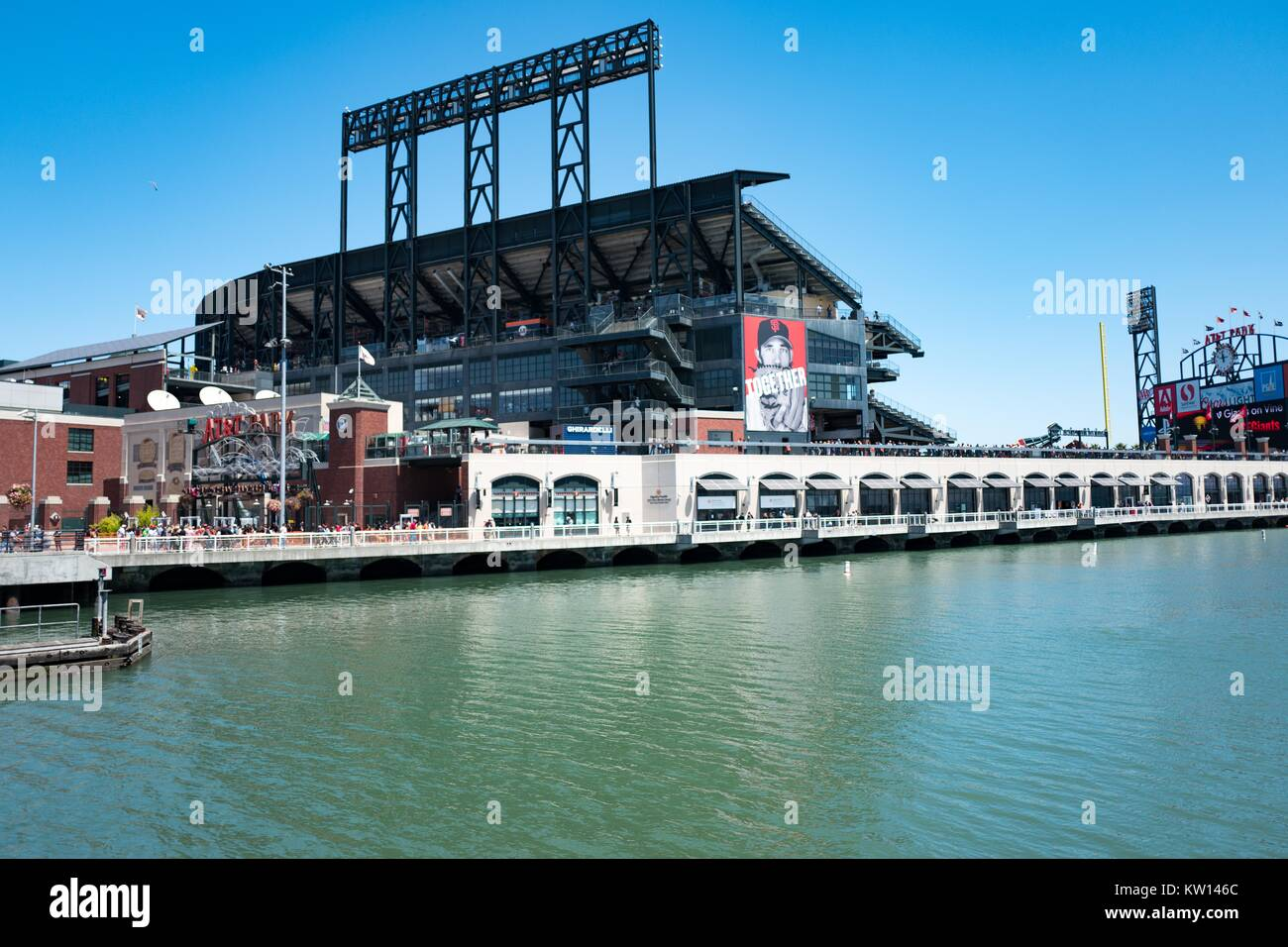 ATT Park baseball stadium, home of the San Francisco Giants baseball team, viewed from across McCovey Cove, San - Stock Image